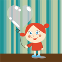 Royalty Free Clipart Image of a Girl With a Heart Balloon