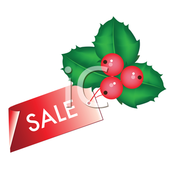 Royalty Free Clipart Image of Holly With a Sale Tag Attached