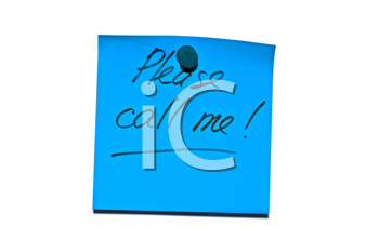 Royalty Free Photo of a Sticky Post it Note Saying Please Call Me