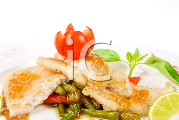 Royalty Free Photo of Halibut on Vegetables