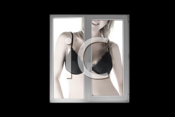 Royalty Free Photo of a Woman Standing in a Bra in Front of a Window