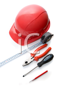 Royalty Free Photo of a Hardhat and Tools