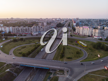 BARNAUL CITY. RUSSIA - JULY 28, 2019: Aerial shot of view to Barnaul city. Siberia, Russia. Summer sunny day on July 28, 2019 in Altayskiy krai, Siberia, Barnaul, Russia.