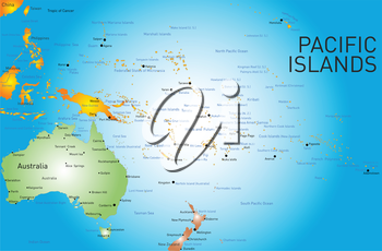 Vector color map of pacific islands