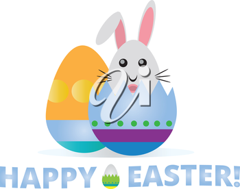 Happy easter illustration with eggs bunny and text