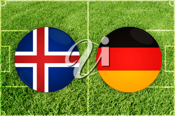 Iceland vs Germany icons at football field background
