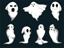 Royalty Free Clipart Image of a Set of Ghosts