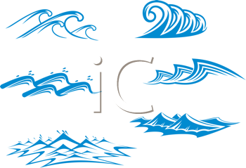 Royalty Free Clipart Image of a Set of Waves