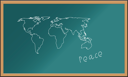 Royalty Free Clipart Image of the World on a Chalkboard