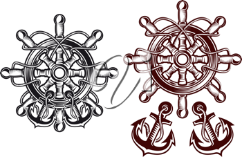Ship steering wheel for heraldic design with anchors
