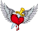 Heart with sword and wings in retro style for tattoo design