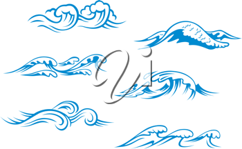Blue sea waves set for design in cartoon style