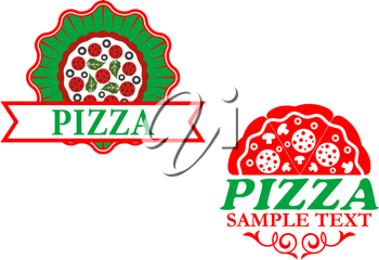 Italian pizza emblems and banners for fast food design