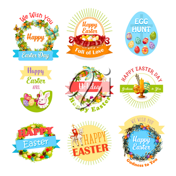 Easter egg and rabbit icon set. Easter egg hunt basket with egg, bunny, Easter lamb, cross and candle, framed by floral wreath of lily, tulip flower, willow twig and ribbon banner with greeting wishes