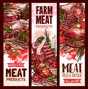 Farm fresh raw meat banners set for butchery shop or market. Vector design of beef steak or sirloin brisket, pork chop or tenderloin and bacon ham, poultry chicken or turkey and mutton loin on ribs
