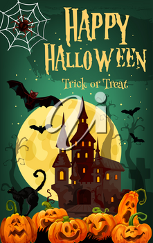 Halloween ghost house greeting card for october holiday celebration. Halloween spooky castle with pumpkin lantern, bat and spider net with full moon sky and horror cemetery on background