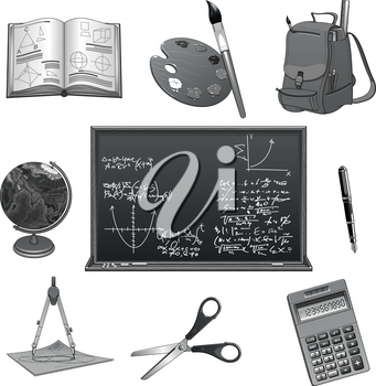 Education and study supplies icons for Back to School. Vector isolated symbols of mathematics or geometry formula on chalkboard, school backpack and calculator, scissors, paint brush and lesson book