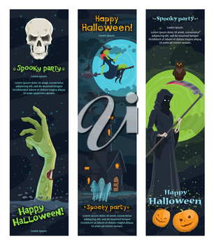 Halloween night horror party banner of autumn holiday. Ghost, bat and witch flying around haunted house, pumpkin lantern and skull, skeleton with death scythe and zombie for invitation flyer design