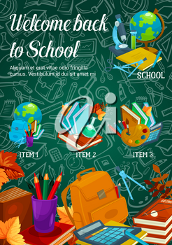 Welcome Back to School sale poster design template on green chalkboard. Vector school bag, book or paint brush and maple leaf, notebook or ruler for September autumn seasonal school discount banner