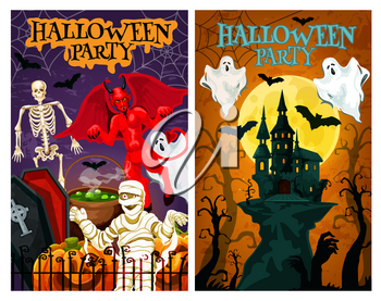 Halloween horror monster banner for night party invitation. Creepy house, ghost and bat, zombie hand, pumpkin lantern and spider net, skeleton, devil demon and mummy for october holiday poster design