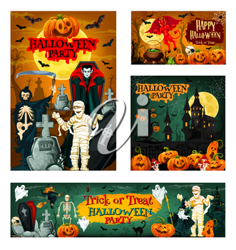 Halloween night trick or treat party banner for autumn holiday celebration. Horror pumpkin, skeleton skull and moon, scary ghost, bat and spider, spooky house, witch and vampire for invitation design