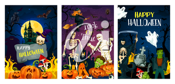 Halloween holiday horror night party invitation banner. Spooky witch, bat and ghost, skeleton, pumpkin lantern and skull, mummy, zombie and full moon for october holiday celebration design