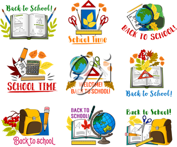 Welcome Back to School icons set of school bag and lesson stationery. Vector isolated pen, chemistry book or copybook and mathematics calculator, geometry pencil or maple leaf and geography globe