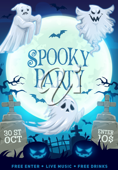 Halloween night party vector invitation with spooky ghosts, bats and pumpkins on horror graveyard with creepy trees, full moon and tombstones, cemetery monsters and crosses. October holiday design