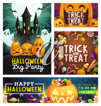 Halloween trick or treat party, scary pumpkin lanterns and horror monster candy skulls and eyes. Vector Halloween holiday greetings with witch broomstick, spooky ghosts and haunted Dracula castle