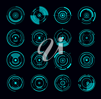 HUD interface round radar futuristic circle. Game interface elements, future or Sci Fi weapon electronic sights designs set, vector infographics circle diagrams, UI interface blue neon light icons