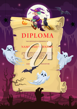 Children Halloween diploma template with witch and ghosts. Kid education achievement certificate vector template, child holiday invitation. Cartoon bats, zombie hands sticking from cemetery ground