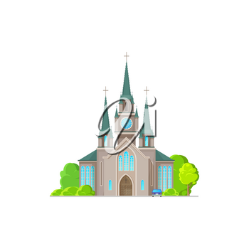 Evangelical church facade exterior isolated religion architecture flat cartoon icon. Vector catholic medieval cathedral, steeple tower to hold wedding and funeral ceremonies. Easter holiday church