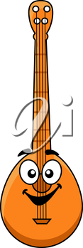 Fun cartoon wooden banjo with a happy smiling face and large googly eyes for musical design