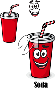 Soda drink in a red takeaway cup with straw with a happy smiling face and the text - Soda - plus a second variation with no face, isolated on white