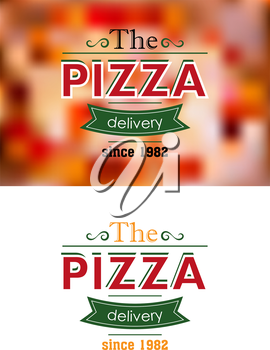 Delivery since 1982 retro pizza label or banner on colored and white background for cafe, restaurant or fast food menu design