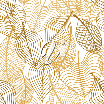 Seamless pattern of yellow and orange autumn leaves isolated on white background. Seasonal design concept