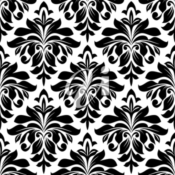 Black floral damask seamless pattern with arabesque elements for interior design