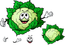 Happy smiling green cartoon cauliflower vegetable character waving with a second variation with no face and separate elements,
