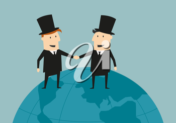 Cartoon businessman and industrialist in top hats standing on top of a world globe shaking hands across the oceans