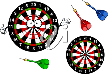 Funny dartboard target cartoon character with bright colored segments and darts arrows showing thumb up gesture for sports or leisure design