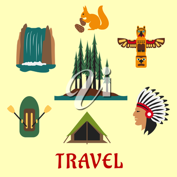 Travel concept for the Canadian or American wilderness with a rubber dinghy, waterfall, forest, native American Indian, totem, squirrel and tent