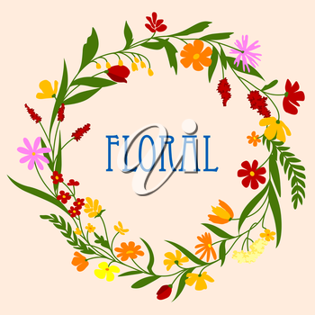 Delicate flowers and herbs foliage arranged in a shape of the round wreath for greeting card or invitation design