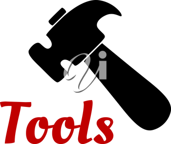 Claw hammer black icon silhouette with short wooden handle for DIY or construction design