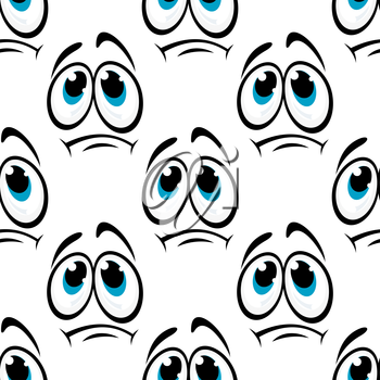 Offended cartoon faces seamless pattern with sad emotion