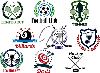Sporting club and tournament emblems for football or soccer, tennis, billiards, ice hockey, bowling, darts with game items and heraldic elements