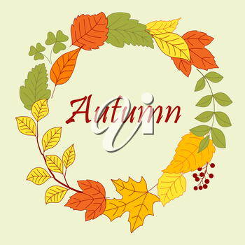 Frame border of colorful autumn leaves and tree branch, clovers and seeds of herbs