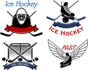 Ice hockey icons and symbols showing crossed sticks, pucks and gate with goalie mask and skates decorated by wings and ribbon banners