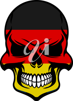 Skull colored in colors of Germany flag with black, red and yellow stripes. For t-shirt or tattoo design