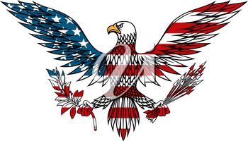 American eagle icon with outstretched wings holds bundle of arrows and olive branch in talons, for tattoo or t-shirt design