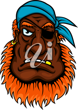 Grim evil looking one eyed pirate with a bushy red beard wearing a bandanna, cartoon style